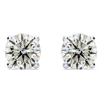 2ct Diamond Stud Earrings Set In 14 Karat White Gold, I-J, I1-I2, Screwbacks
