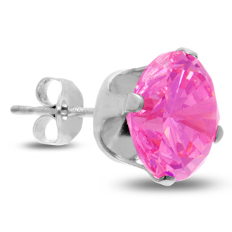 4ct Pink Cubic Zirconia Stud Earrings in Sterling Silver