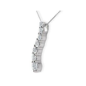1ct Curve Style Journey Diamond Pendant in 14k White Gold, G/H SI3