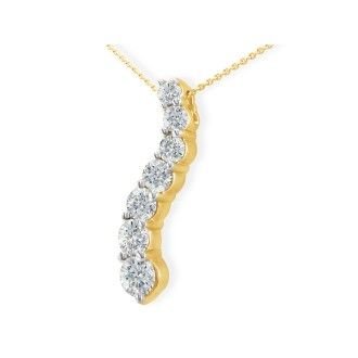 1ct Curve Style Journey Diamond Pendant in 14k Yellow Gold, G/H SI