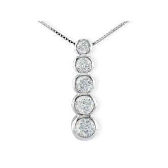 1/2ct Bezel Set Journey Diamond Pendant in 14k White Gold
