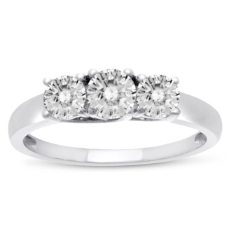 1 Carat Three Diamond Ring Crafted In Solid Sterling Silver