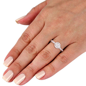 1 Carat Round Halo Diamond Engagement Ring in 14k White Gold, I-J, SI2-I1