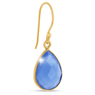 12ct Blue Chalcedony Teardrop Earrings in 18k Overlay