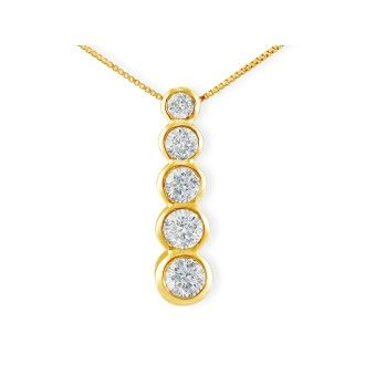 3/4ct Bezel Set Journey Diamond Pendant in 14k Yellow Gold