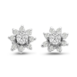 14K White Gold Flower Diamond Earring Jackets, Fits 1/4-1/2ct Stud Earrings