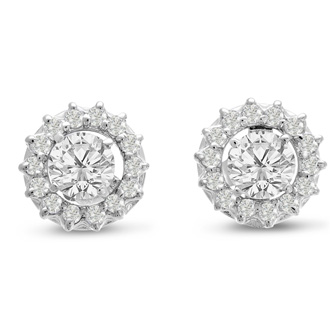 14K White Gold Classic Diamond Earring Jackets, Fits 2-2 1/2ct Stud Earrings