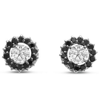 14K White Gold Classic Black Diamond Earring Jackets, Fits 2-2 1/2ct Stud Earrings