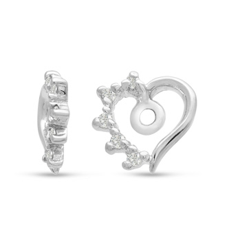 14K White Gold Heart Shape Diamond Earring Jackets, Fits 1-1 1/2ct Stud Earrings