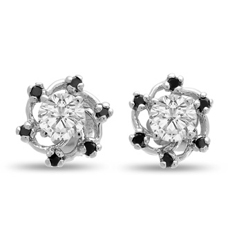 14K White Gold Black Diamond Earring Jackets, Fits 3/4-1ct Stud Earrings