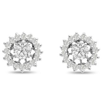 14K White Gold Classic Diamond Earring Jackets, Fits 1 1/2-2ct Stud Earrings