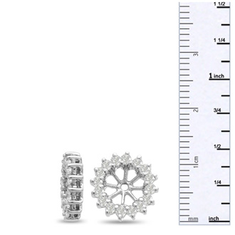 14K White Gold Classic Diamond Earring Jackets, Fits 1 1/2-2ct Stud Earrings