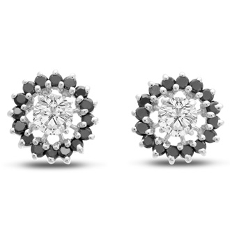 14K White Gold Classic Black Diamond Earring Jackets, Fits 1 1/2-2ct Stud Earrings