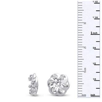 14K White Gold Floret Diamond Earring Jackets, Fits 1/5-1/4ct Stud Earrings