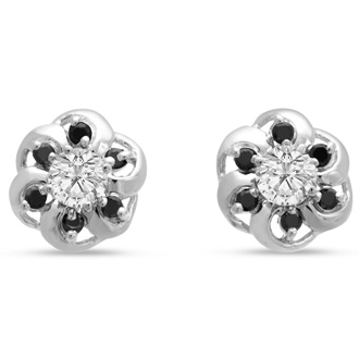 14K White Gold Floret Black Diamond Earring Jackets, Fits 1/5-1/4ct Stud Earrings