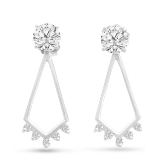 14K White Gold Chandelier Diamond Earring Jackets