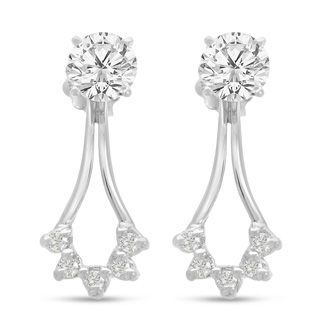 14K White Gold Cluster Diamond Earring Jackets