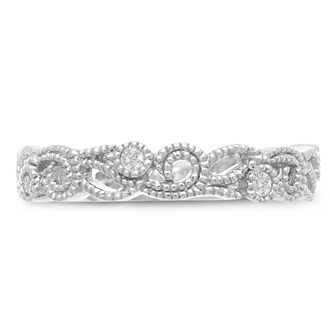 1/5ct Antique Floral Wedding Band Crafted In Solid 14K White Gold