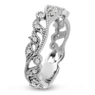 1/10ct Floral Wedding Band Crafted In Solid 14K White Gold