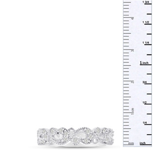 1/3ct Antique Floral Wedding Band Crafted In Solid 14K White Gold