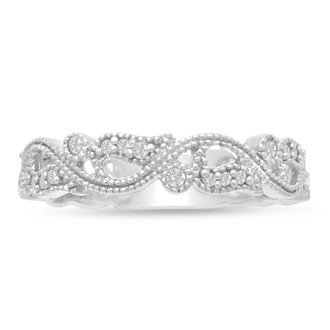 1/5ct Ornate Floral Wedding Band Crafted In Solid 14K White Gold