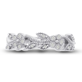 1/3ct Flowery Wedding Band Crafted In Solid 14K White Gold