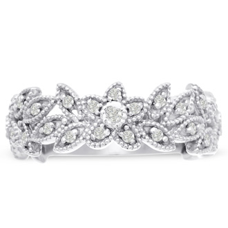 1/3ct Floral Style Wedding Band Crafted In Solid 14K White Gold