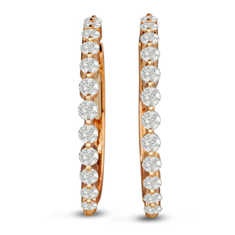 14K Rose Gold 1.50 Carat Floating Diamond Hoop Earrings
