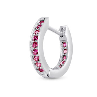 1/2ct Created Ruby Huggy Hoop Earrings