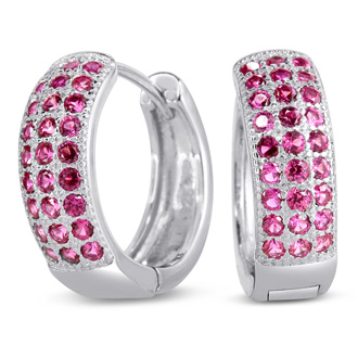 1ct Pink Sapphire Hoop Earrings