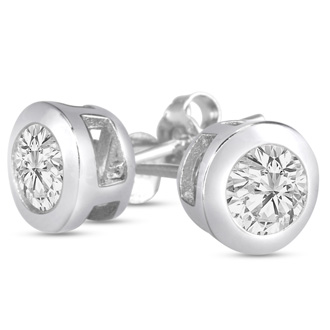 1ct Cubic Zirconia Stud Earrings Crafted In Solid Sterling Silver