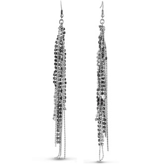 Gunmetal Fringe Dangle Earrings, 5 Inches