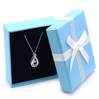 "Shimmering Stars Diamond Teardrop Necklace With 18"" Free Chain."