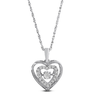 Shimmering Stars Collection 1/10ct Halo Heart Diamond Necklace In Sterling Silver, 18 inches, Floating Diamond