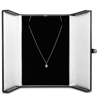 Shimmering Stars Collection 1/10ct Halo Diamond Necklace In Sterling Silver, 18 inches, Floating Diamond