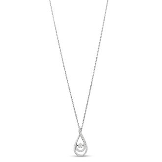 Shimmering Stars Collection 1/10ct Melodic Teardrop Diamond Necklace In Sterling Silver, 18 inches, Floating Diamond