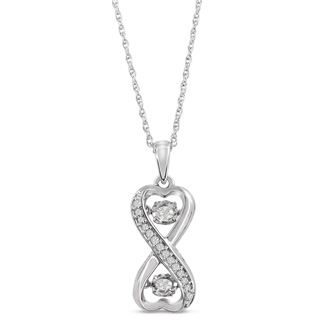 Shimmering Stars Collection 1/5ct Diamond Infinity Necklace In Sterling Silver, 18 inches, Floating Diamond