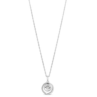 Shimmering Stars Collection .15ct Double Halo Diamond Necklace In Sterling Silver, 18 inches, Floating Diamond