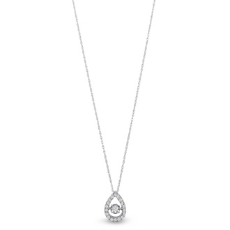 Shimmering Stars Collection 1/5ct Halo Pear Shape Diamond Necklace In White Gold, 18 inches, Floating Diamond