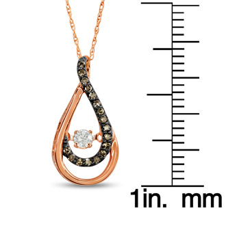 Shimmering Stars Collection 1/5ct Melodic Teardrop Diamond Necklace In Rose Gold, 18 inches, Floating Diamond