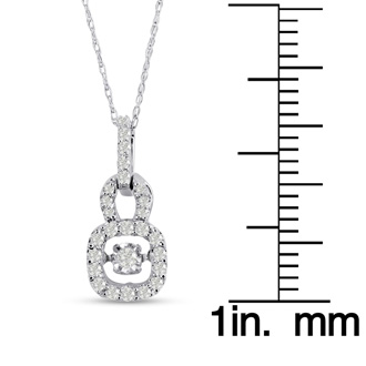 Shimmering Stars Collection 1/5ct Diamond Lock Necklace In White Gold, 18 inches, Floating Diamond