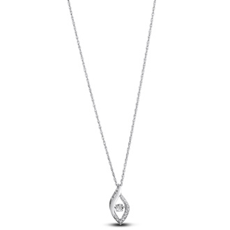 Shimmering Stars Collection Melodic Marquise Diamond Necklace In Sterling Silver, 18 inches, Floating Diamond