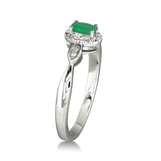1/2ct Emerald and Diamond Ring in Sterling Silver
