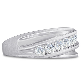 Men's 1ct Diamond Ring In 10K White Gold, G-H, I2-I3