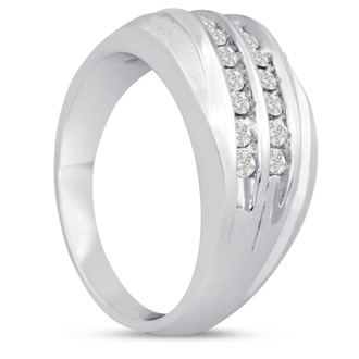 Men's 1/2ct Diamond Ring In 10K White Gold, G-H, I2-I3