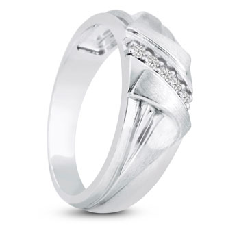 Men's 1/10ct Diamond Ring In 10K White Gold, G-H, I2-I3