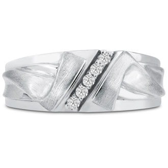 Men's 1/10ct Diamond Ring In 10K White Gold, I-J-K, I1-I2