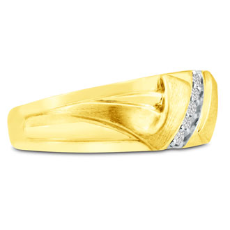 Men's 1/10ct Diamond Ring In 14K Yellow Gold, I-J-K, I1-I2