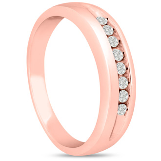 Men's 1/4ct Diamond Ring In 10K Rose Gold, I-J-K, I1-I2
