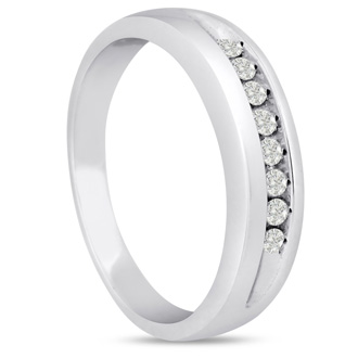 Men's 1/4ct Diamond Ring In 10K White Gold, G-H, I2-I3
